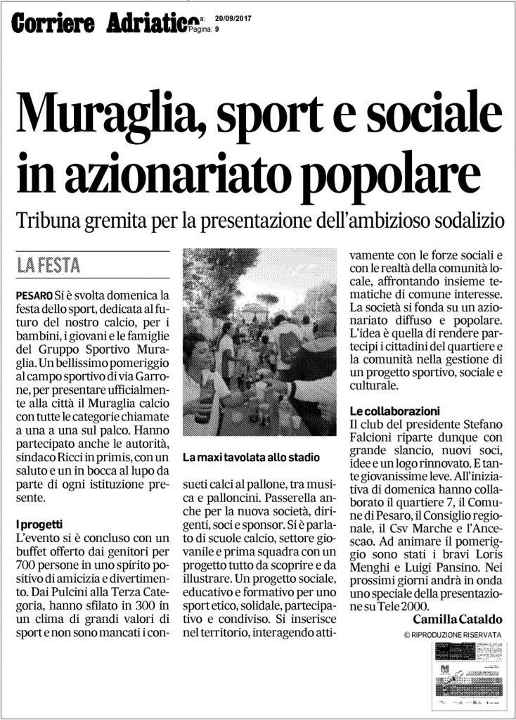 articolo giornale inaugurazione Muraglia calcio